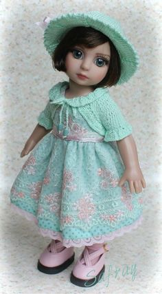 """SPRING PARTY in Mint"" OOAK ensemble for Tonner Patsy/Ann Estelle, Iplehouse BID"