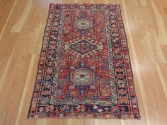 3' X 4' 6 VINTAGE RED PERSIAN RUG WOOL ORIENTAL RUG AREA RUGS FREE SHIPPING #Persian