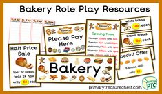 A great selection of Bakery role play resources for the for the Foundation Phase - Early Years -  kindergarten - Pre-School Teaching Activities, Teaching Ideas, Role Play Shop, Role Play Areas, Brown Bread, Cake Shop, Pre School, Kindergarten, Bakery