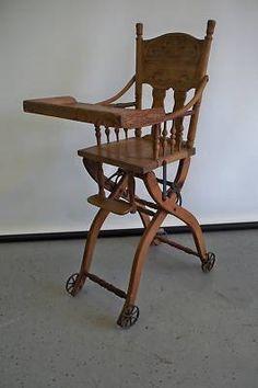 Antique Victorian Children S Oak High Chair Converts To