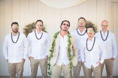 Hawaiian lei groomsmen photo. Hawaiian fusion rustic wedding. June Wedding at Oak Hill Farm, Sonoma, CA. Photo By: Nicole Wasko (www.nicolewasko.com)