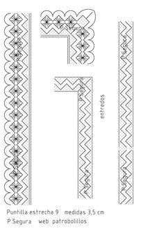 Meteré unas serie de puntillas estrechas ya que en el mercado existen  poca variedad espero que sean de vuestro agrado seguir atentos. son ... Bobbin Lace Patterns, Lacemaking, Lace Heart, Crochet Borders, Lace Jewelry, Yarn Crafts, Lace Detail, Tatting, How To Make