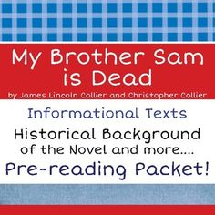 My brother sam is dead novel study 4th and 5th pinterest my brother sam is dead pre reading background texts activities fandeluxe Choice Image