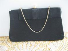 Black Satin Purse Bow Gold Handle Vintage by GotMilkGlassAndMore, $11.95