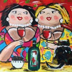 Dikkevriendinnen even bijkletsen. Zelf komen schilderen? Schilderen met een wijntje. Hét creatieve avondje uit. paintbar.nl.