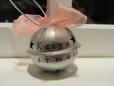 Baby's First Christmas Ornament Bell Personalized by misserikalynn, $7.95