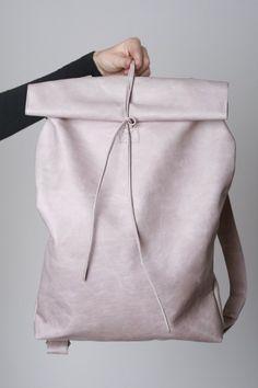 white fold backpack