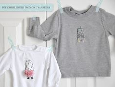 I just love these adorable embellished T's! Think I might make some as Valentine's for my two cuties. (diy instructions & free printable for iron-on transfers)