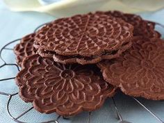 Chocolate peppermint pizzelle sandwich cookies.