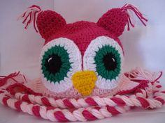 Touca coruja Pink Baby | Bunica Chica | Elo7