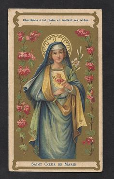 Art Nouveau Immaculate Heart of Mary Vintage Art by Divinegiftshop, $14.99