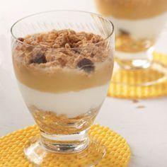Apple Yogurt Parfaits:  4 servings; 170 calories, 4 g fat per serving; Diabetic Exchanges: 1 starch, 1/2 whole milk