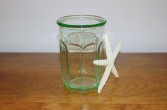 Vintage Green Depression Glass Refrigerator Jar, Anchor Hocking Canning Jar, Glass Storage Canister, Desk Pencil Holder, Vintage Kitchen Decor