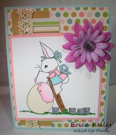 Craft Your Passion - A Day for Daisies and pastels - I love A Day for Daisies! I can't get enough! Today I used this adorable Easter bunny image to go along with our pretty pastels challenge at Craft Your Passion. The paper is from ki Doilies set. I added some fabric flowers and a random button. The lace ribbon is from May Arts. I used my...