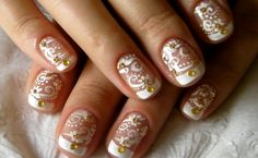 Short French Nails Gold Beads Flowers Wedding
