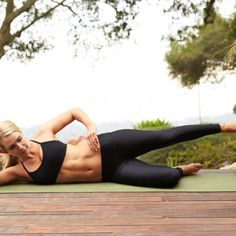 Lie on right side with right leg bent at a 90-degree angle and left leg extended out at a 45-degree angle behind hip.