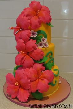 Best cake ever. Best Cake ever. Best Cake EVER! Hibiscus Wedding, Hibiscus Flowers, Puerto Rico, Flower Cake Design, Small Wedding Cakes, Cake Wedding, Luau Birthday, Birthday Cakes, Luau Theme Party