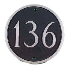 Montague Metal Products Petite Circle Address Plaque Finish: Black / White, Mounting: Wall