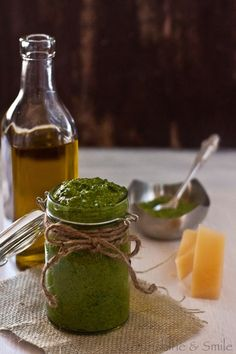 Spinach pesto. Get your green on. (Make vegan by replacing cheese with nutritional yeast--start with 1/2 the amount, and then increase to taste.)