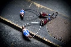African tribal earrings • oxidized copper • Chevron glass • trade beads • nomad • ethnic • drop dangle • handforged • red • blue • entre2et7 by entre2et7 on Etsy