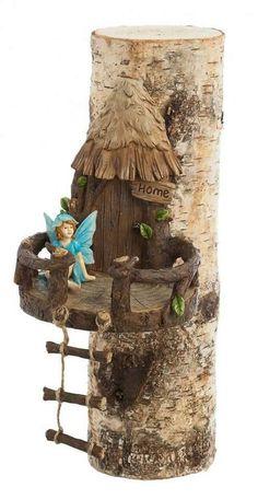 Woodland Tree Décor Fairy Garden Woodland Fairy House Tree Decor Source by Fairy Tree Houses, Fairy Village, Fairy Garden Houses, Tree Garden, Garden Gnomes, Fairies Garden, Lawn And Garden, Garden Art, Terrace Garden