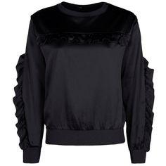 Boohoo Sana Ruffle Front Satin Sweatshirt | Boohoo (5.793 KWD) ❤ liked on Polyvore featuring tops, hoodies, sweatshirts, ruffle front top, flat top and satin top