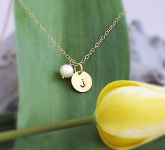 Personalized 24 K Vermeil Gold Disk Charm Freshwater pearl Necklace - Custom handstamped charm pendant - Freshwater pearl necklace