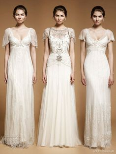 Downton Abbey inspired wedding gowns.  Lovely dresses, but the model does not look very happy.  Photos: Jenny Packham