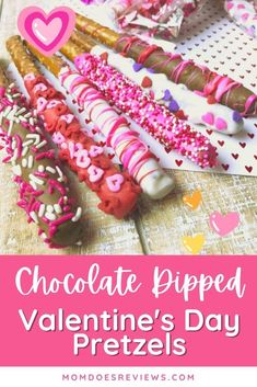 If you are looking for a cute and easy Valentine's Day treat then look no further than these Super Cute Candy covered Valentine's Day Pretzel Rods! They are so easy to make and simply adorable! Pretzel Rods, Cute Candy, Chocolate Decorations, Valentines Day Treats, Candy Melts, Lunch Snacks, Chocolate Dipped, Pink Candy, Yummy Treats