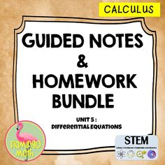 In this bundled set, you will find all you need to prepare your AP Calculus students for a better understanding of DIFFERENTIAL EQUATIONS. This bundle is part of my Calculus curriculum with EARLY TRANSCENDENTALS.  The bundle includes three lessons. Each lesson comes with a Guided Student Notes handout, a homework assignment, and all the keys.