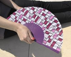 "HOT SALE: Purple retro print designer hand fan, ""Sagol"", eventail, abanicos, geometric design, summer accessories, Free Shipping"