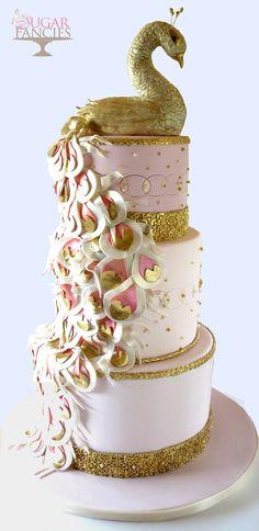 Year Of The Bird... Peacock Cake <3 wedding Cake Bird peacock gold pink