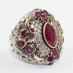 Designer Rani's Collection Ruby Agate & Cubic Zirconia Stone 925 Sterling Silver Ring With Brass by JaipurSilverIndia on Etsy
