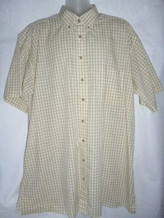 Mens HARBOR BAY Dress Shirt Yellow Blue Black White Plaid Button Down Front 2XLT #HarborBay