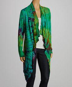 Look what I found on #zulily! Green & Blue Tie-Dye Open Cardigan - Women by Jayli #zulilyfinds