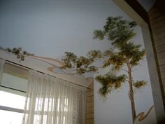 tree-painting-wall-ceiling-decorating-ideas-modern