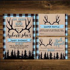 Hunter Baby Shower, Hunting, Wilderness, Antler Invitation, Printable,  Hunting, Deer