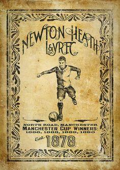 """Poster del """"NEWTON HEATH L F.C."""" Ganadores de la MANCHESTER CUP,1886,1888,1889,1890."""
