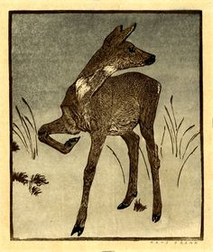 Hans Frank (1884 - 1948) 1911 This color woodcut depicts a deer, standing in a dreary winter landscape, listening intently and poised to run,. Hans Frank was an austrian painter and printmaker, working in both aquatint and color woodcut. He exhibited at the Vienna Secession in 1912 and 1913. During WWI he served as an artillery regiment officer. after the war he travelled through southern France, Italy, and Austria. Frank was awarded numerous prizes,