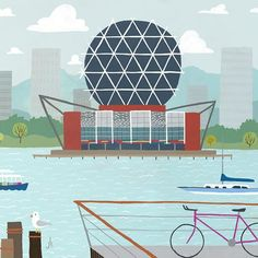 Science World - Vancouver Landmark art print, home decor  Vancouver landmark art print with a unique Mid-Century / Folk Art take. A perfect Vancouver gift idea for any city lover or that poor soul that is leaving town. Purchase on www.snowalligator.com  Illustration by artist Jason Blower  #yvr #yvrart #yvrwallart #wallart #Vancouverart #Vancouvergift #yvrgift #snow_alligator #charmingart #cuteart #midCentury #Folkart #cuteart #charmingart #yvrlove