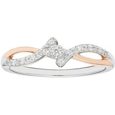 Two Tone 10k Rose Gold Over Silver Diamond Accent Bypass Promise Ring ($149) ❤ liked on Polyvore featuring jewelry, rings, white, white ring, white gold rose ring, silver rings, 18 karat gold ring and silver pave ring