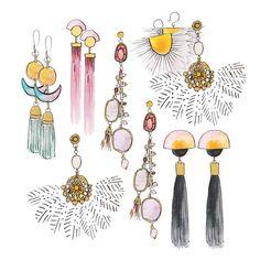 Toujours bien choisir ses BO 💕 #watercolor #earrings #mondaymood #illustration #painting #fashionillustration #bouclesdoreilles