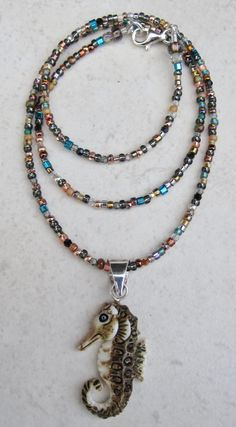 Seahorse Carved Bone Sterling Silver Beaded Necklace