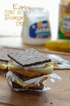 Easy Peanut Butter Banana S'mores | The easiest s'mores ever! Four simple ingredients and no heat involved are sure to make for four happy mouths - or one, your choice!