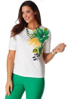 Painted Shoulder Floral Tee - Christopher & Banks