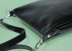 "Black Leather Crossbody Bag with Zipper ""Joey Black"", Small Leather Crossbody Handbag, Bag for iPad mini, Black Leather Crossbody Purse"