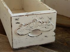 Vintage Sewing Drawer Shabby Chic Chippy White Storage Box Mail Letter Holder
