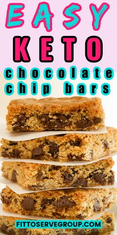 These keto chocolate chip are not only easy they are flat-out delicious. If what you are looking for is a keto soft-baked chocolate chip bars this recipe is it! keto chocolate chip bars| low carb chocolate chip bar| sugar-free chocolate chip bars| keto cookies| low carb cookies