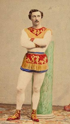 """Jules Léotard , Carte-de-visite._1 March 1838 – 17 August 1870) was a French acrobatic performer and aerialist who developed the art of trapeze. He also popularised the one-piece gym wear that now bears his name and inspired the 1867 song """"The Daring Young Man on the Flying Trapeze"""" sung by George Leybourne."""