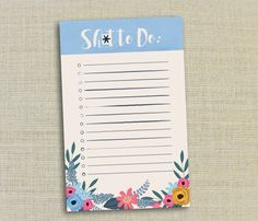 Sht Shit to Do To-Do Floral List Notepad by WhimsicallyInked
